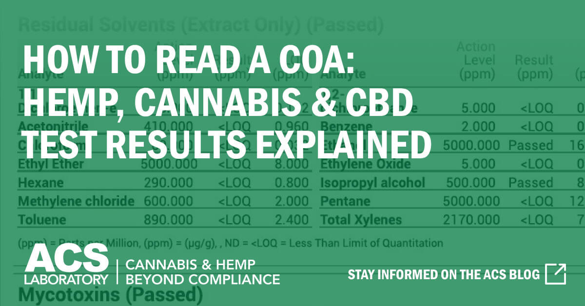 How to Read a COA and Why It's So Important - ACS Lab Cannabis